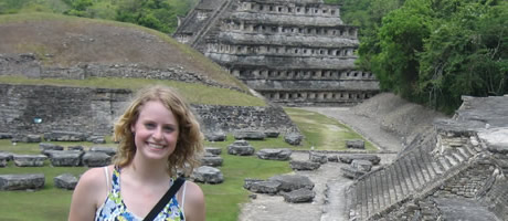 honors student visiting aztec ruins in mexico