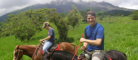 honors student riding horseback in costa rica