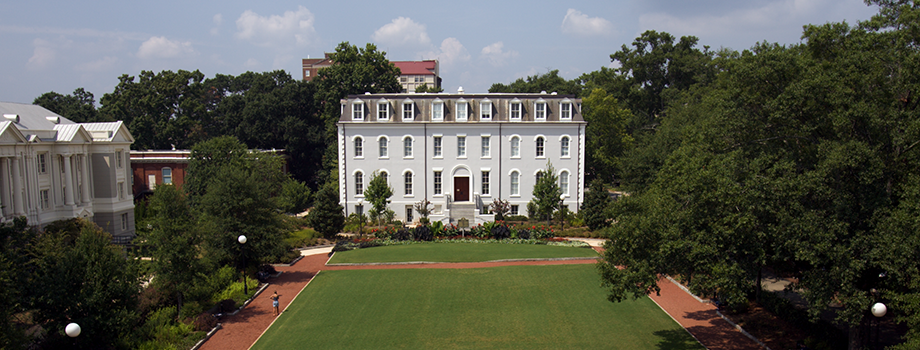 the view of Moore College from Herty Field