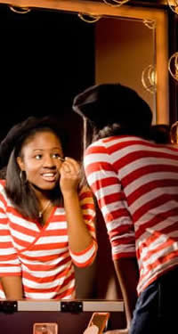 student actor preparing for performance