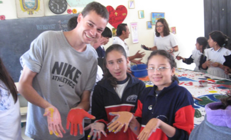 Stephen working with schoolchildren in Ecuador