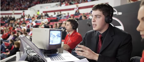 broadcast intern covering play-by-play for UGA basketball