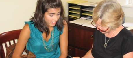 Honors advisor working with a student