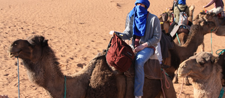 honors students traveling through the desert in Morocco