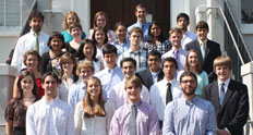 curo summer research fellows on the steps of the honors building